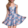 Vintage 80s 90s Flamingo Trendy Stretchy Lightweight Beach Summer Skater Dress