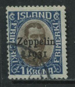 Iceland 1931 1 kronor overprinted Zeppelin used