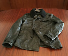 NWT Ralph Lauren Black Cowhide Distressed Leather Jacket Peacoat Charcoal Mens M
