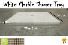 White Mugla Marble Natural Stone shower tray 90 cm x 90 cm x 4 cm