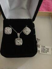 White Gold 14 Kt Diamond Earring and Diamond Pendant 1 Ct