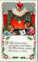 SANTA CLAUS in Red Robe~ Children with Book -Christmas Postcard~UNUSED-k747