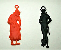 2 Vintage Plastic Halloween Vending Witch & Devil Pendant 1960s NOS New