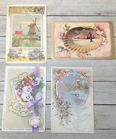 Lot Of 4 Vintage Floral Postcards Post Cards