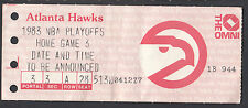 Atlanta Hawks 1982-83 Unplayed Playoff Ticket Stub 3rd Home Game