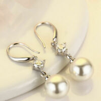 Fashion Crystal Women Pearl Drop Dangle Earrings Jewelry Gifts