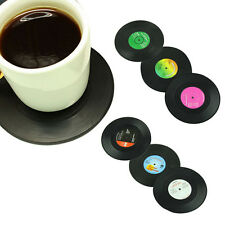 6 X Vinyl Schallplatten Glasuntersetzer Set Untersetzer Bierdeckel Musik Retro^