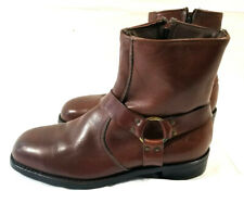 Vtg Men's Lehigh 8.5 3E Brown Leather Safety Ankle Harness Motorcycle Boots ANSI