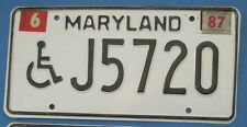 1987 Maryland Handicapped Driver license plate