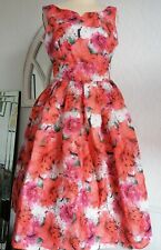 Lindy Bop Size 8 Floral Dress vintage look Rockabilly