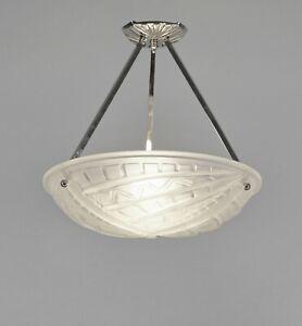 NOVERDY : FRENCH 1930 ART DECO PENDANT CHANDELIER .. suspension lamp muller era