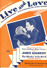 "MASKS OF THE DEVIL Sheet Music ""Live And Love"" John Gilbert Alma Rubens"