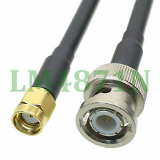 """cable Bnc male plug to Rp.Sma male jack straight crimp Rg58 8"""" pigtail"""