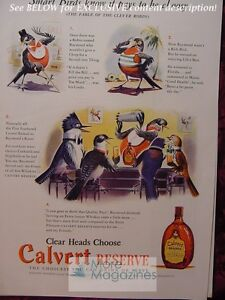 RARE Esquire Advertisement 1941 AD CALVERT reserve blended Whiskey! WWII Era