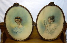 2 Antique Oval Wood Frames (Some Damage) & Watercolor Portraits - M. Hunter Hill