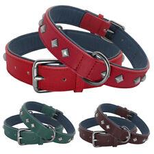 Real Leather Punk Studded Pet Dog Collar for Golden Retriever Labrador M L XL