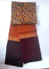 South Cotton pure handloom saree orange with deep brown border