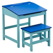 Children's Blue Wooden Desk & Stool Hinged Lid & Storage Organizing Rack Unit