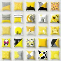 Yellow Home Decor Cotton Linen Pillow Case Sofa Car Waist Throw Cushion Cover