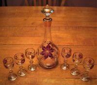 Vintage wine decanter & glasses (6) set Hand Painted crystal