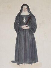 Religieuse de la Visitation COSTUME GRAVURE COULEURS Pannemaker XIXe siecle