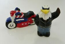 CIB American Heritage Salt & Pepper Set Ceramic Eagle and Motorcycle Serve Ware