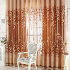 Floral Half Shading Curtain Window Treatment for Living Room Decor (Coffee)