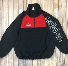 VTG Adidas Trefoil Logo Black Red 3/4 Zip Pullover Jacket Coat Sz XL? XXL?