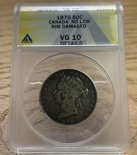 1870 Canada 50 Cent Piece Sterling Silver Queen Victoria No LCW Rim Damage