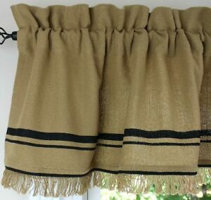 """Loose Weave Cotton Burlap with Fringe and Black Border 72"""" x 16"""" Unlined Valance"""