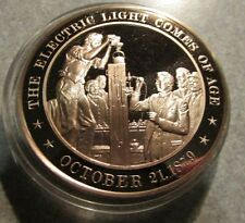 1879 The Electric Light comes of Age Franklin Mint Solid Bronze Medal Token