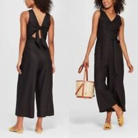 New Who What Wear Jumpsuit Capri Romper Womens S Black Open Tie Back Summer