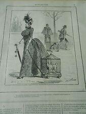 Typo Caricature 1886 Promener les chiens en cage en cas d'hydrophobie