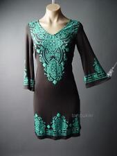 Moroccan Henna Ethnic Design Flare Sleeve 60s 70s Boho Jersey Day 97 ac Dress L