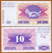 Bosnia-Herzegovina, 10 Dinara, 1992, Pick 10, UNC