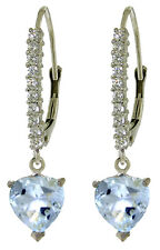 14K Solid White Gold Leverback Earrings Genuine Diamond Aquamarine 3.55ct