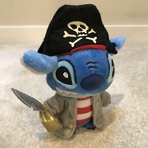"Disney Lilo & Stitch Pirate Black Hat 7.5"" Plush Soft Toy Stuffed Animal Figure"
