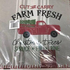 St Nicholas Square Farmhouse Christmas Placemat Farm Fresh Red Truck Tree Gray