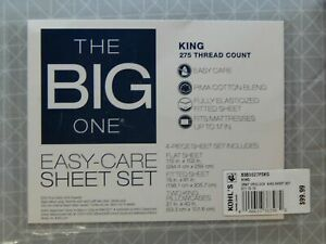 The Big One Easy Care 275 Thread Count Sheet Set King 4 Piece Set Gray Gridlock