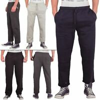 Mens Fleece Tracksuit Joggers Jogging Casual Bottoms Open Hem Sports Track Pants