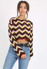 Womens Ladies Wine Multi Chevron Knitted Crop Jumper Top