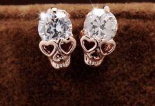 Fashion Earring Boho Festival Party Uk Rose Gold Skull Crystal Bling Stud Luxury