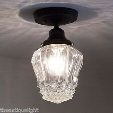 615 Vintage arT Deco Glass Ceiling Light Fixture  hall  porch bath 1 of 2