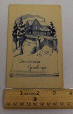 Vintage Christmas Greetings Postcard Pink of Perfection House Snow Smoke Chimney