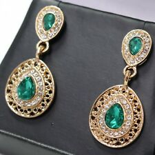 Green Emerald Earrings Women Wedding Birthday Jewelry 14K Rose Gold Plated Gift