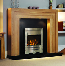 ELECTRIC OAK SURROUND SILVER BLACK MODERN FIRE FIREPLACE SUITE LIGHTS LARGE 54""