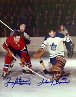 JEAN BELIVEAU /JOHNNY BOWER HOF Autographed Signed 8x10 Photo Canadiens REPRINT