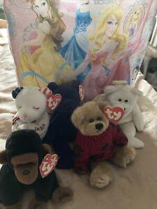 💜Ty beanie babies bundle X5 ❤️Monkey, Angel,American,Teddies