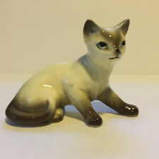 Vintage Seal Point Siamese Cat Porcelain Figurine 4� Brown & Cream Blue Eyes