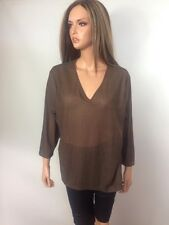 Jones New York, Lightweight 3/4 Sleeve Brown V-Neck Top, Size 2X